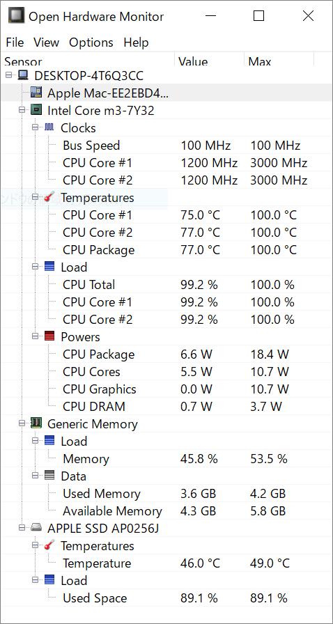 macbook12 cpu temp