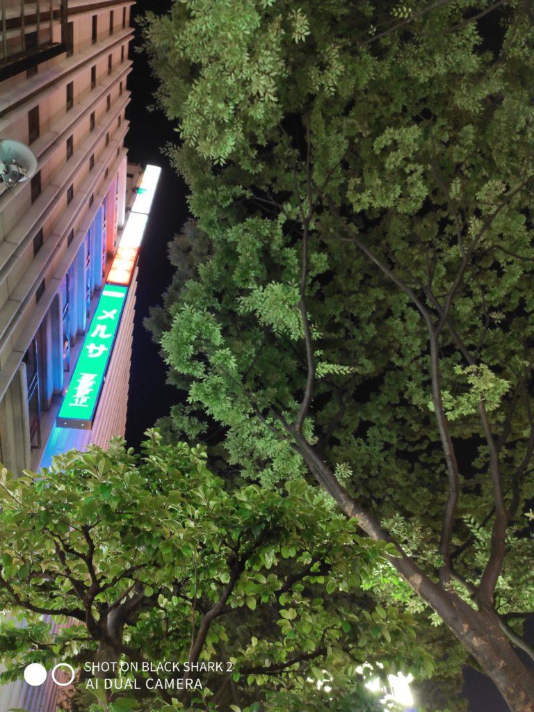 Black Shark2 夜間 街路樹と看板