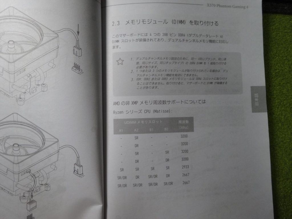 マザーボード説明書 メモリの取り付けについて